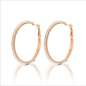 Jewelry - Large gold plated hoop earrings w/ pearls